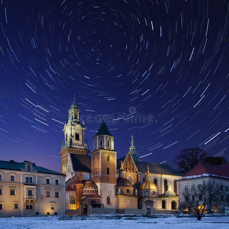 Krakow - Star Trails - Royal Cathedral - Poland royalty free stock photos