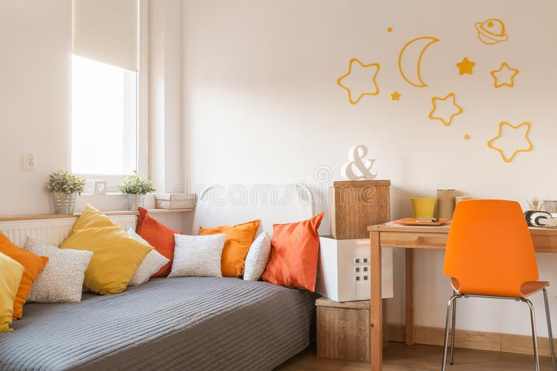 Star wall decor. In modern childish room royalty free stock image