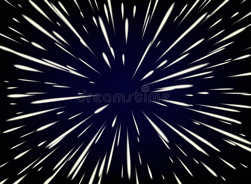 Star Warp or Hyperspace with free space in the center, light of moving stars concept. Vector abstract background with Star Warp or Hyperspace with free space in vector illustration