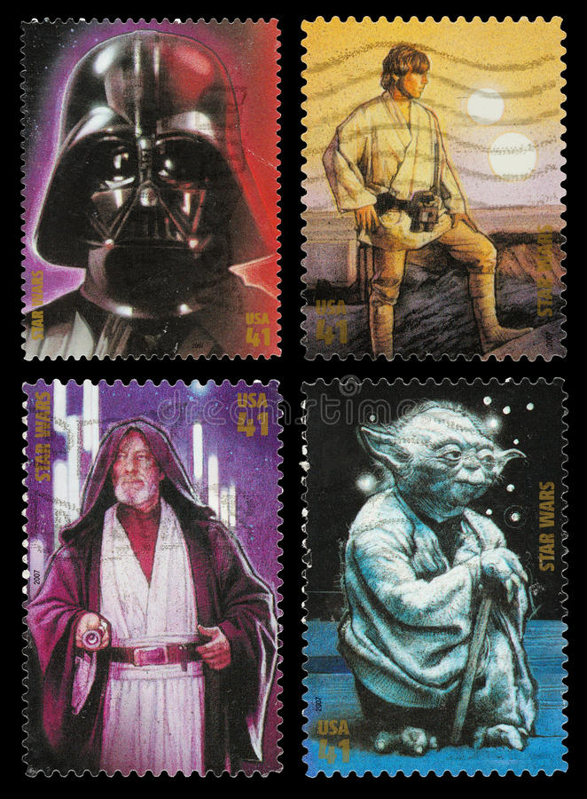Star Wars Character Postage Stamps stock images