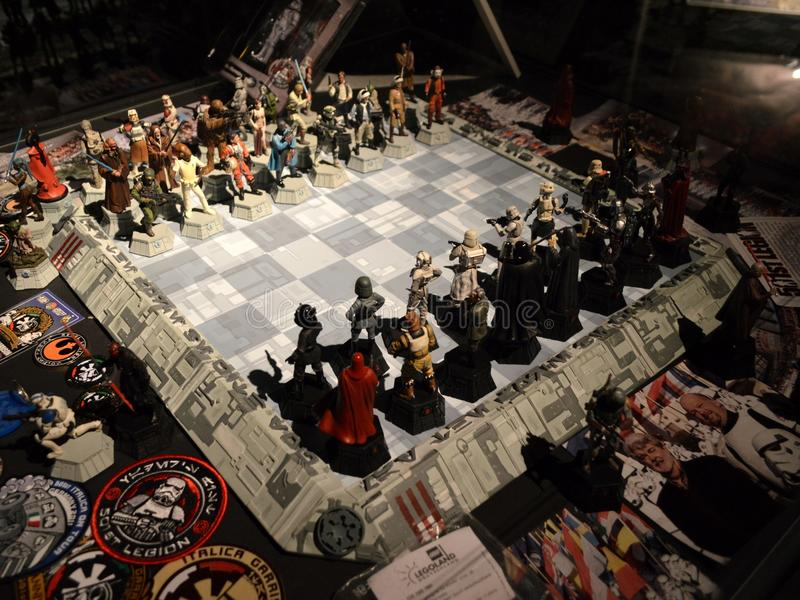 Star Wars chess board stock photos