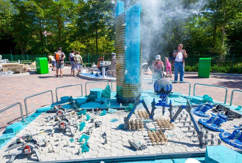 Star Wars episod på Legoland royaltyfria foton