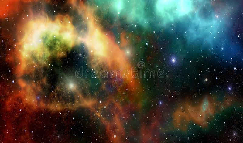 Star wars galaxies in the infinite Universe. Abstract representation of the Universe and star galaxies with a cluster of stars royalty free illustration