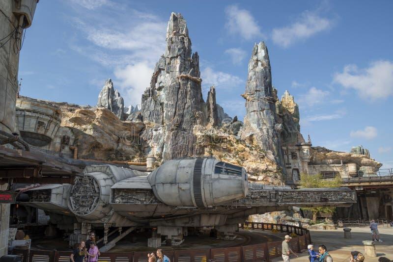 Star Wars, il bordo della galassia, Disney World, falco di millennio fotografie stock libere da diritti