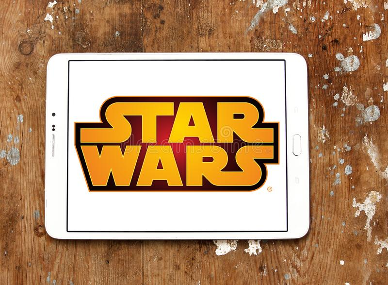 Star Wars logo. Logo of Star Wars on samsung tablet. Star Wars is an American epic space opera media franchise, centered on a film series created by George Lucas royalty free stock images