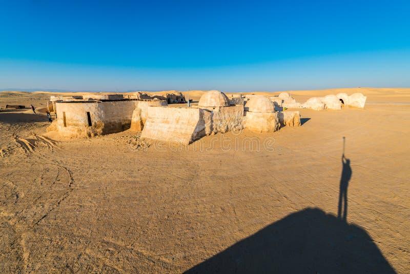 Star Wars Mos Espa in Tunesië wordt geplaatst dat stock foto's