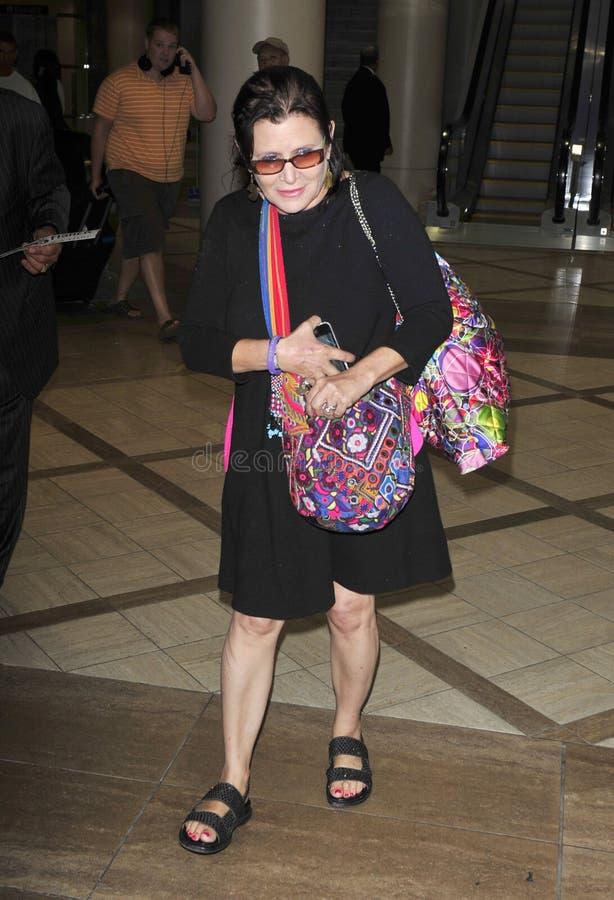 Star Wars-Schauspielerin Carrie Fisher am LOCKEREN Flughafen stockbild