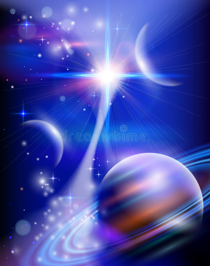Star Way - planets, stars, constellations, nebulae & galaxies. Magic Space - Star Way - planets, stars and constellations, nebulae and galaxies, lights. Vector royalty free illustration