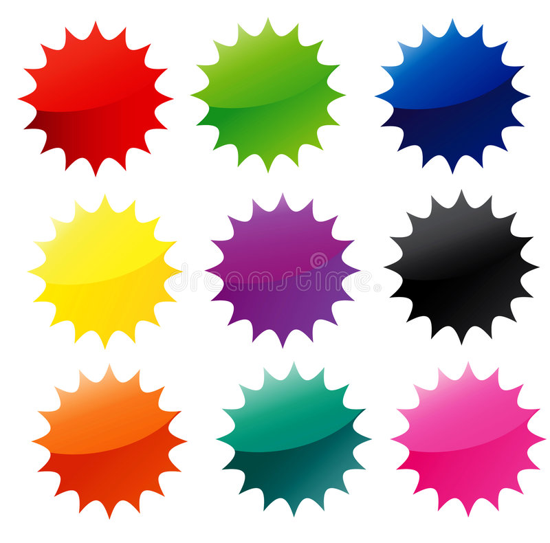 Star Web Stickers. Glossy star shaped web stickers for price tag, badge, announcement