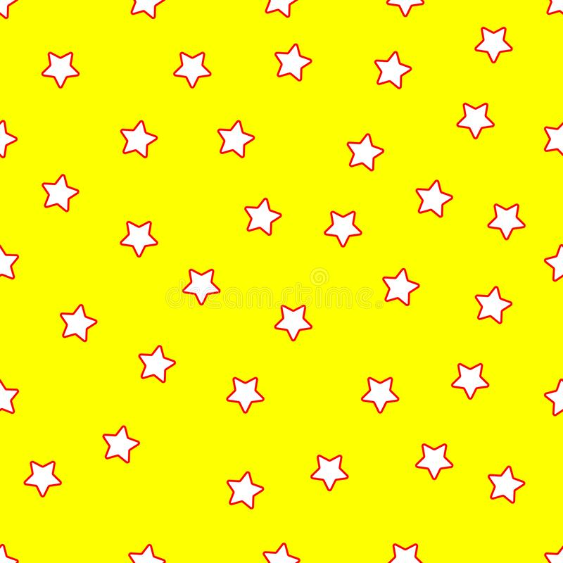 Star white seamless pattern wallpaper with yellow background royalty free stock image