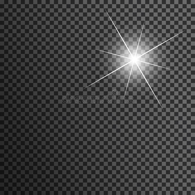Star in white on transparent black background. Sun flare with rays and attention. vector illustration