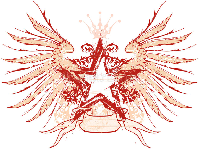 Download Star & wings stock illustration. Image of floral, grunge - 6762514