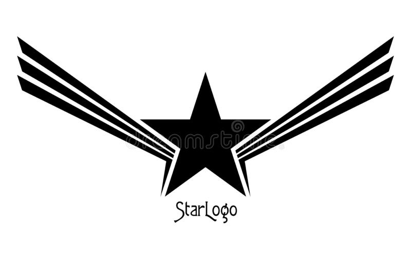 Star with Wings Abstract Logo(带Wings摘要徽标的星 设计元素 向量例证