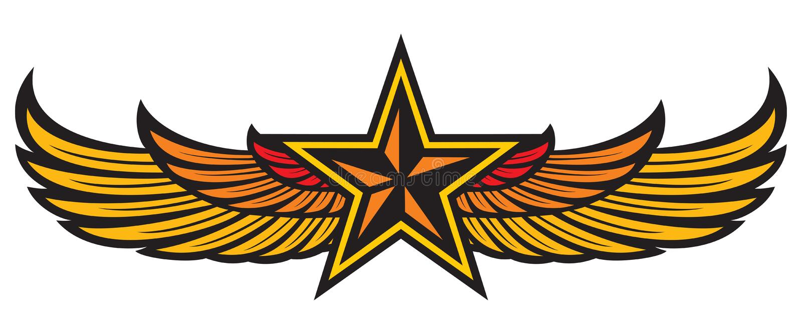 Star and wings. Eagle wings, yellow star badge royalty free illustration