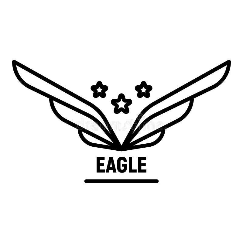 Star wings logo, outline style vector illustration