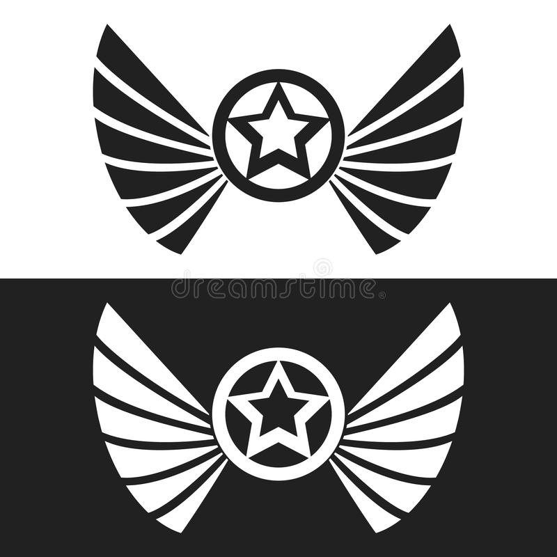 Star and wings logo vector illustration