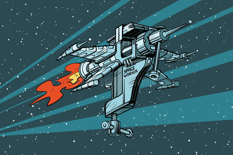 Star working space ship of tools stock illustration
