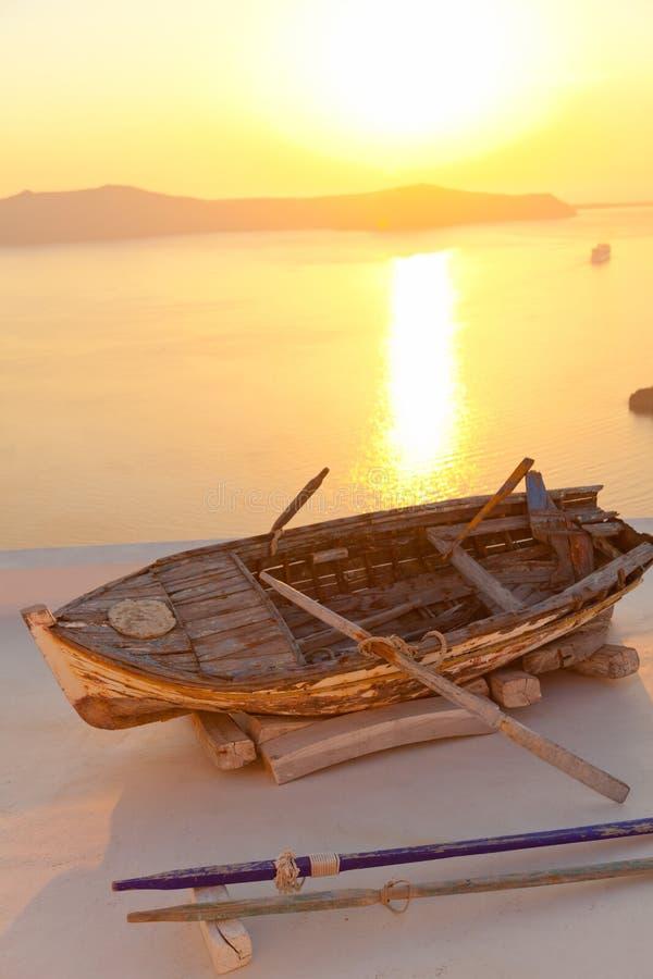 Stara łódź w Firostefani, Santorini obraz stock