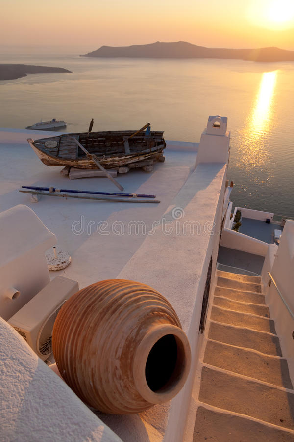 Stara łódź w Firostefani, Santorini zdjęcia royalty free