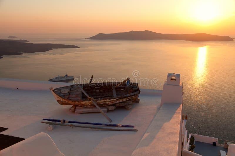 Stara łódź w Firostefani, Santorini obraz royalty free