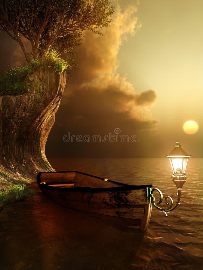 Stara łódź z lampionem ilustracja wektor