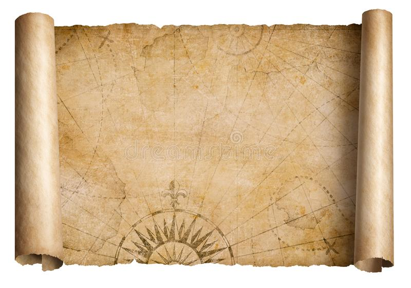 Stara średniowieczna skarb mapy ślimacznica odizolowywająca zdjęcia stock