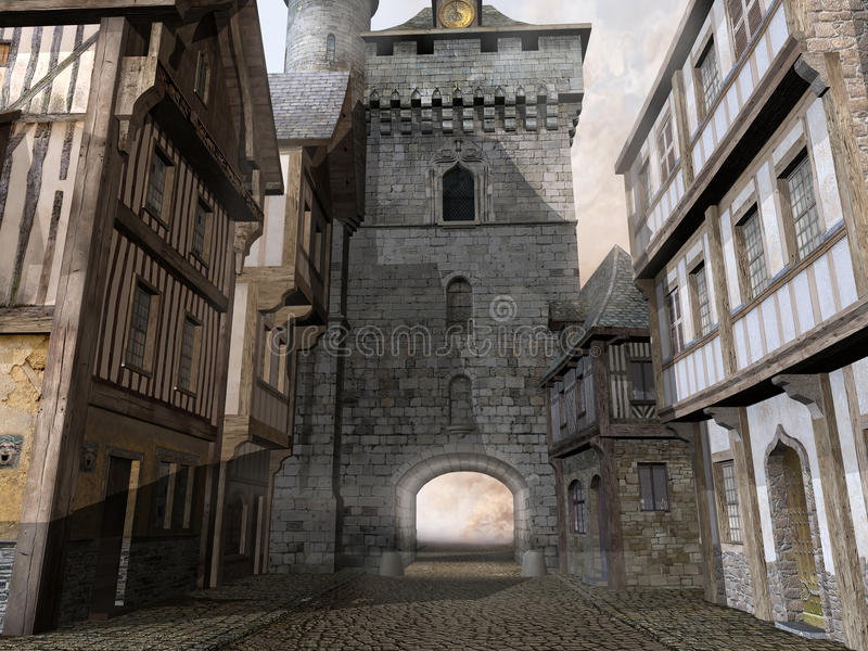 Stara średniowieczna ulica ilustracja wektor