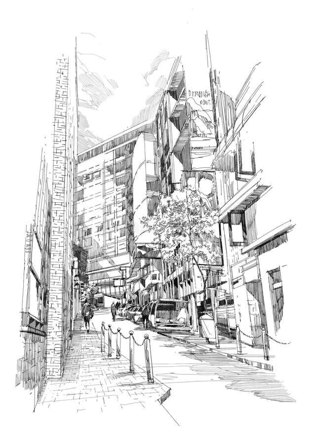 Stara aleja miasto royalty ilustracja