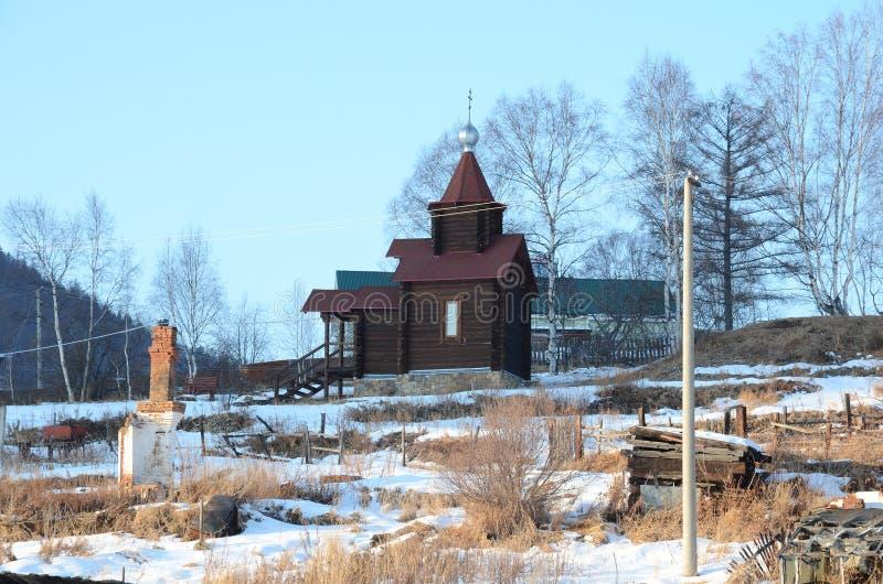 Stara Angasolka wioska na Baikal kolei Kaplica St Nicholas fotografia royalty free