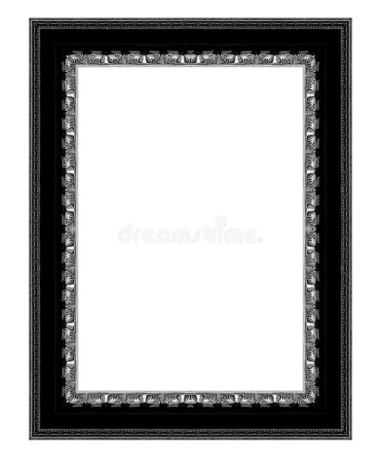 Stara antykwarska czerni rama odizolowywająca na białym tle fotografia stock