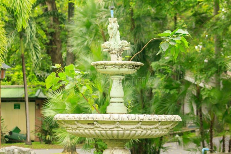 Stara bia?a fontanna w parku fotografia stock