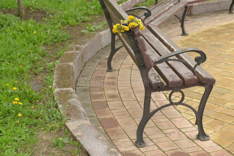 Stara brąz ławka w parku z wiankiem żółci dandelions fotografia stock