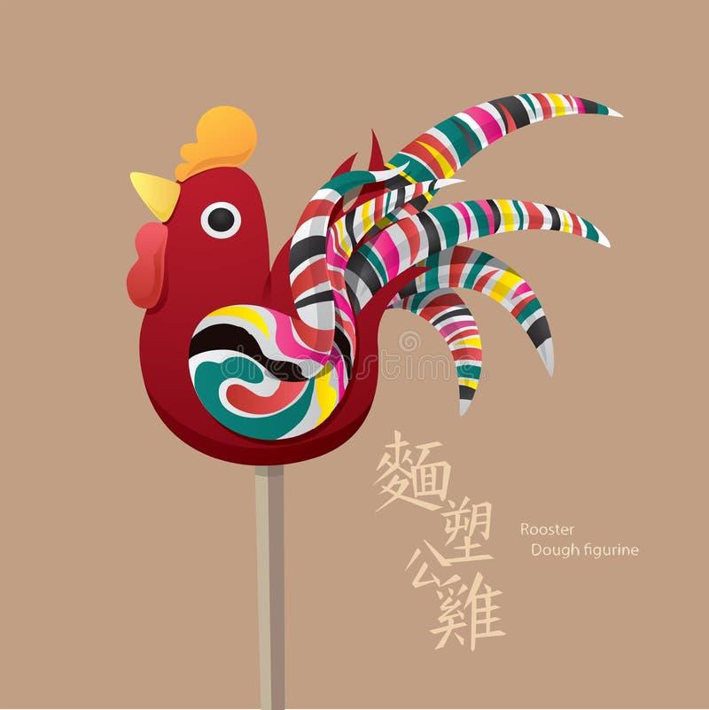 Stara Chińska dzieciak zabawka: Koguta ciasta figurka ilustracji