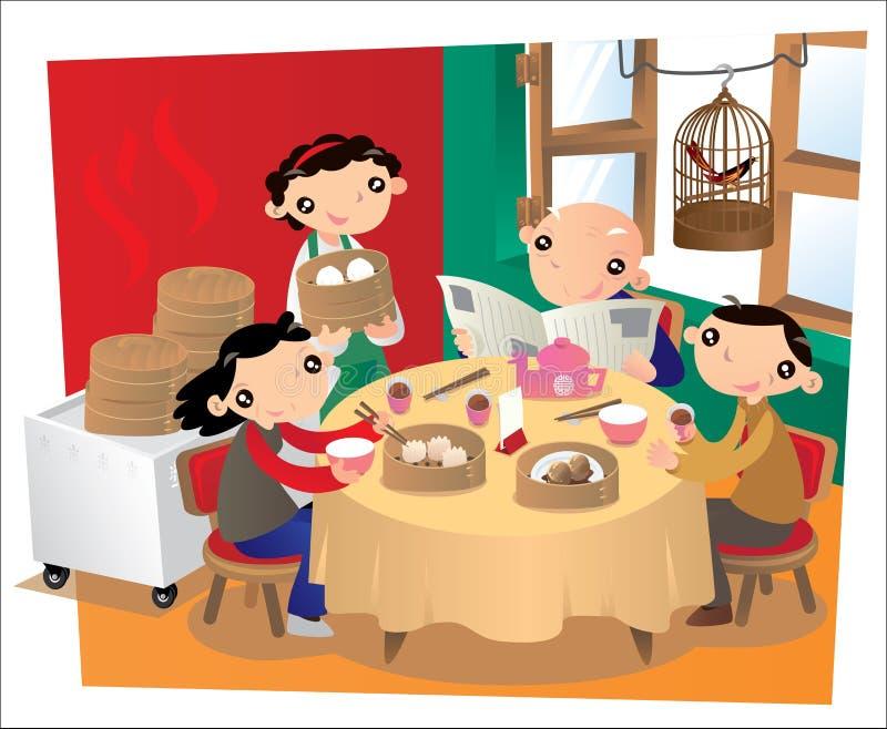 Stara Chińska restauracja w Hong Kong royalty ilustracja