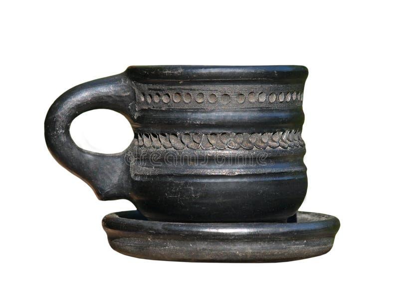 Stara czarna arabska ceramiczna filiżanka odosobniony fotografia stock