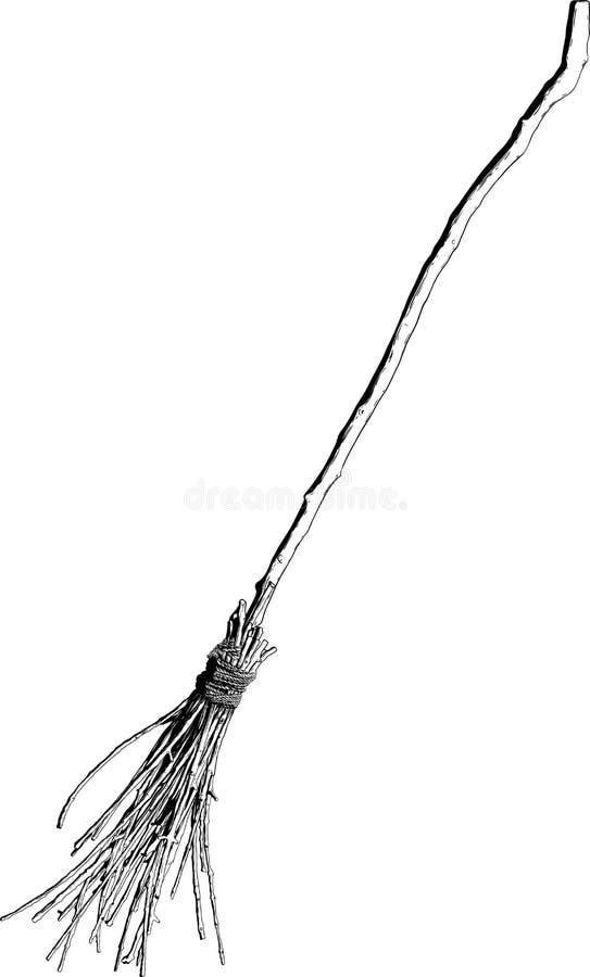 Stara czarownicy miotła royalty ilustracja