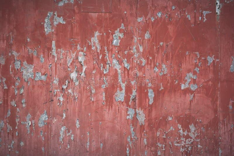 Stara czerwona kruszcowa ściana obraz royalty free