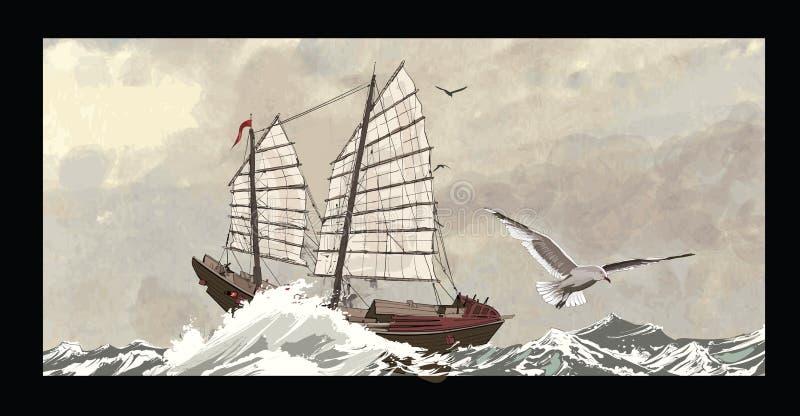 Stara dżonka na szorstkim morzu ilustracji