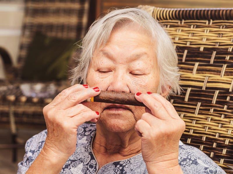 Stara dama docenia kubańskiego cygaro Dama wącha cygaro obrazy royalty free