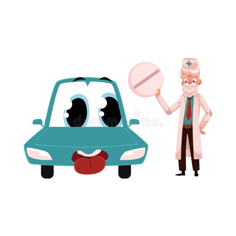 Stara doktorska daje pigułka śmieszny samochodowy charakter royalty ilustracja