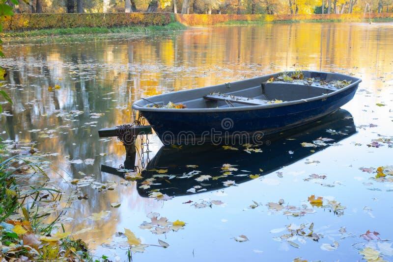 Stara drewniana łódź na jeziornym banku w jesień sezonie zdjęcia royalty free