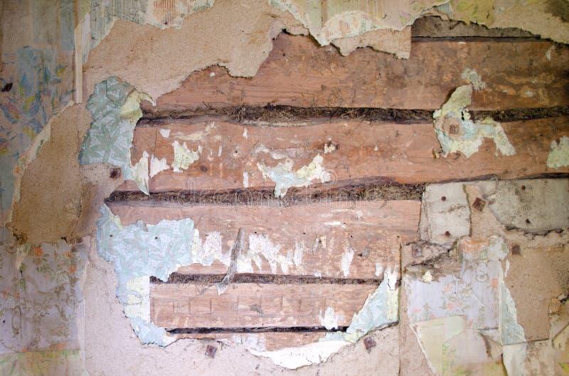 Stara drewniana ściana i obdarty Tapetowy tło obraz stock
