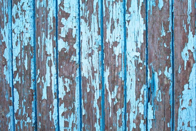 Stara drewniana ściana z starym krakingowym farby błękita colour obraz royalty free