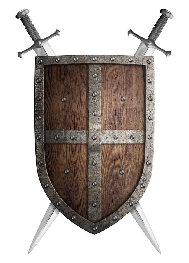 Stara drewniana średniowieczna krzyżowiec osłona, dwa i obraz royalty free