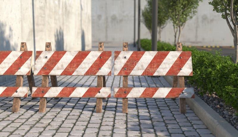 Stara drewniana drogowa bariera na chodniczka zbliżeniu Znak ostrzegawczy o zamknięciu przejście na drodze 3 d czyni? ilustracji