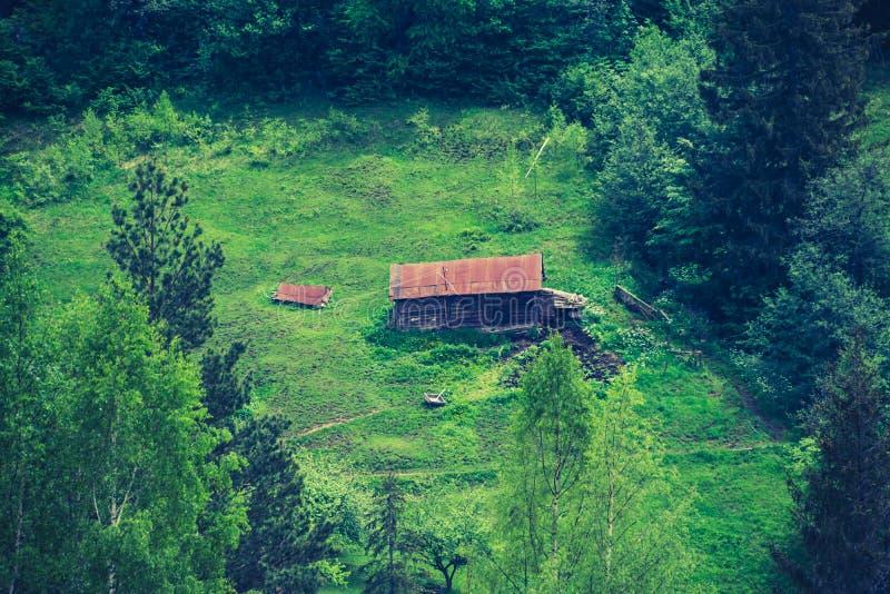 Stara drewniana jata na zielonej krawędzi zdjęcie royalty free