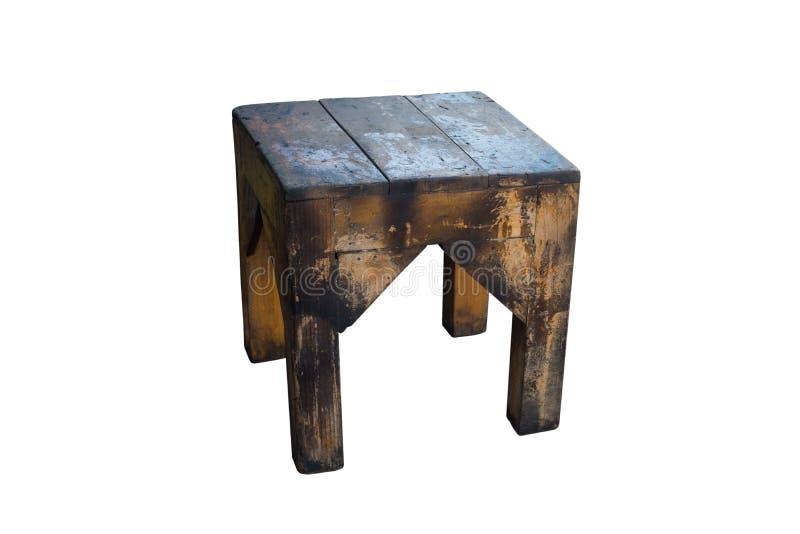 Stara drewniana stolec odizolowywająca na białym tle z ścinek ścieżką zdjęcie stock