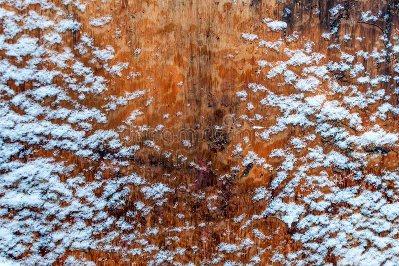 Stara drewniana tekstura z śnieżnym bożego narodzenia tłem fotografia stock