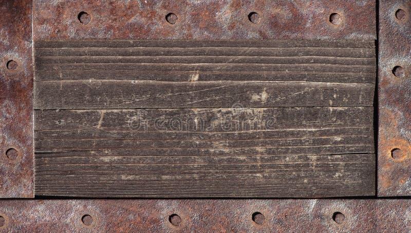 Stara drewniana tekstura z metali elementami obraz stock