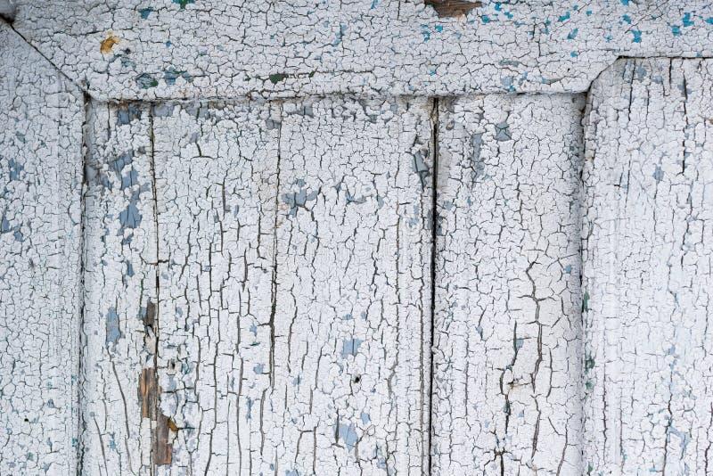 Stara drewno rama z zniszczoną nawierzchniową białą farbą obrazy stock